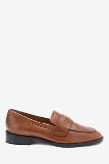 Tan Leather Almond Toe Loafers