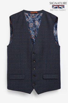 Navy Waistcoat Signature Check Slim Fit Suit