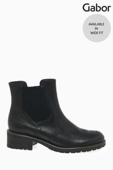 Gabor Black Imagine Wide Foot Fit Leather Ankle Boots