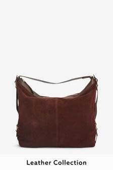 Berry Leather Suede Shoulder Bag