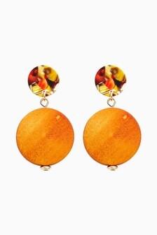Ochre Wood And Resin Drop Earrings