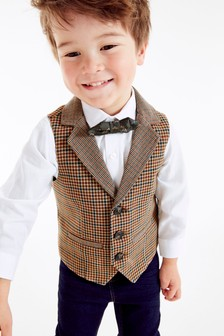 Brown Heritage Waistcoat, Shirt And Bow Tie Set (3mths-7yrs)