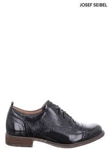 Josef Seibel Black Sienna Leather Brogue Shoes
