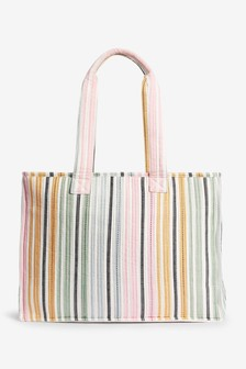 Rainbow Stripe Quilted Cotton Weekend Bag