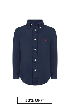 قميص كتانأزرق داكنأولادي