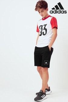 adidas White/Black/Red T-Shirt And Shorts Set