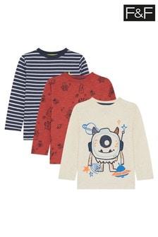 F&F Neutral 3 Pack Monster Stripe T-Shirt