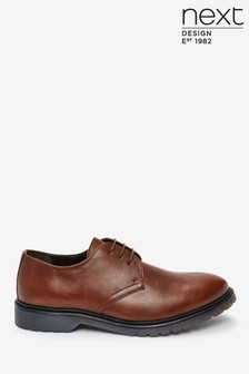 Tan Cleated Sole Derby Shoes