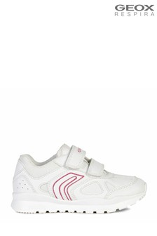 Geox Junior Girl's Pavel White/Fuchsia Velcro Sneakers