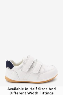 White Wide Fit (G) Leather First Walker Shoes