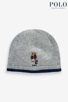 Ralph Lauren Grey Bear Beanie Hat