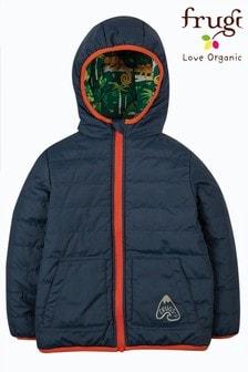 Frugi Navy Recycled Polyester Reversible Packaway Jacket
