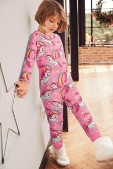Pink Christmas Unicorn Cotton Jogger Pyjamas (3-16yrs)
