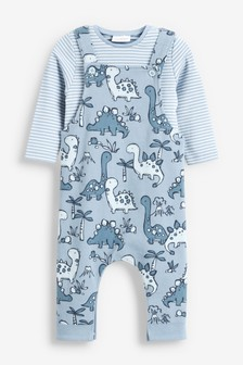 Blue Dinosaur Jersey Dungarees And Bodysuit Set (0mths-2yrs)