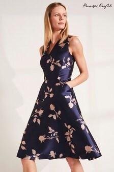 Phase Eight Navy Jordynn Jacquard Dress