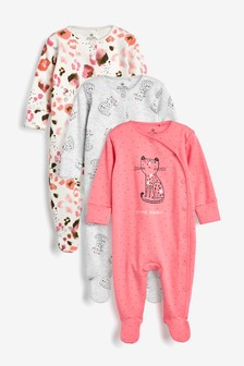 Pink 3 Pack Leopard Sleepsuits (0mths-2yrs)