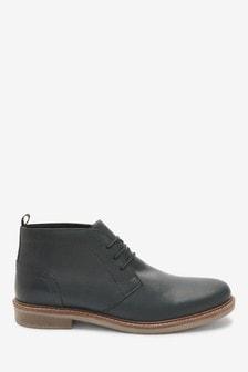 Black Waxy Finish Leather Chukka Boots