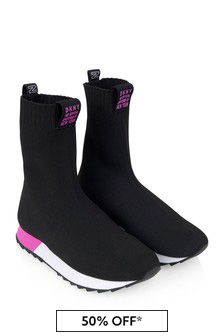 Girls Black Sock Trainers
