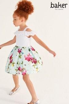 Baker by Ted Baker Girls Aqua Floral Off The Shoulder Dress
