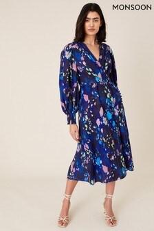 Monsoon Blue Anita Animal Print Wrap Dress