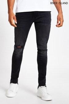 River Island Black Medium Skinny Serento Rip Jeans