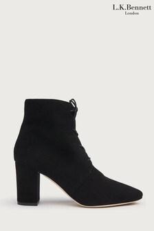 L.K.Bennett Black Lira Lace-Up Ankle Boots