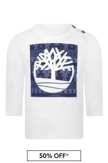 Baby Boys White Organic Cotton Logo Jersey T-Shirt