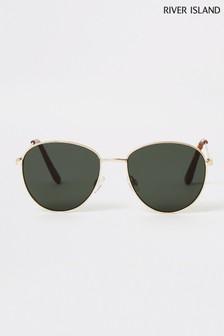 River Island Gold Green Lens Drop Round Sunglasses