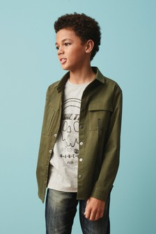Khaki Long Sleeve Shirt And T-Shirt Set (3-16yrs)