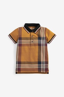 Tan Short Sleeve Check Jersey Polo Shirt (3mths-7yrs)