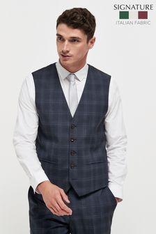 Navy TG Di Fabio Signature Check Suit: Waistcoat