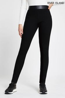 River Island Black Ponte Split Hem Leggings
