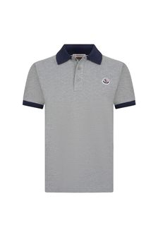 Boys Grey Cotton Polo Top