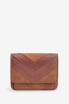 Tan Splice Detail Leather Look Purse