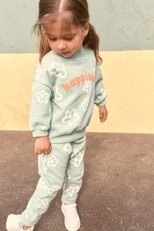 Green Slogan Co-ord Sweater And Joggers Set (3mths-7yrs)