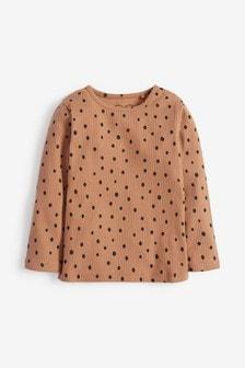 Camel Spot Long Sleeve Rib T-Shirt (3mths-8yrs)