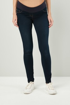 Dark Blue Maternity Half Narrow Bump Band Denim Leggings