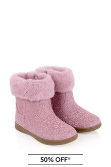 الفتيات الوردي بريق ليوبارد باري الثاني الأحذية