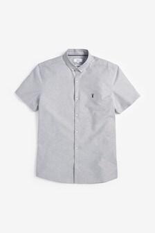 Light Grey Slim Fit Short Sleeve Stretch Oxford Shirt