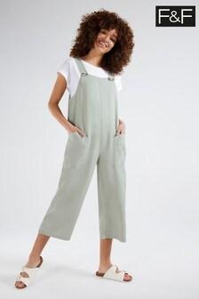 F&F Khaki Linen Long Romper