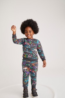 Charcoal Splat Crew and Joggers All Over Print Jersey Crew And Joggers Set (3mths-7yrs)