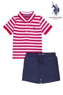 U.S. Polo Assn. Red Breton Stripe Poloshirt And Shorts Set