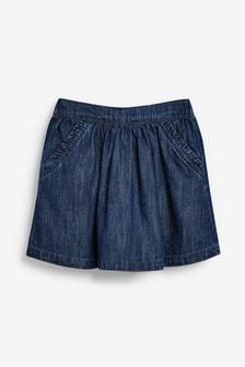 Dark Blue Denim Frill Pocket Skirt (3mths-10yrs)