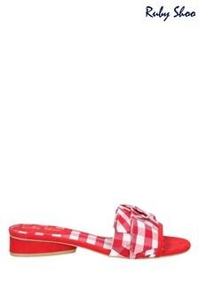Ruby Shoo Red Alena Ruffled Slip-On Slide Sandals