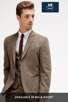 Brown Tailored Fit Herringbone Suit: Jacket