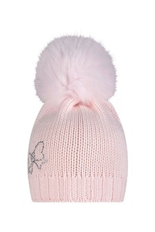 Girls Pink Wool Hat With Faux Fur Pom Pom