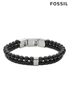 Fossil Black Bead And Cord Bracelet