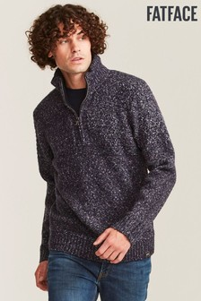 FatFace Blue Borden Stitch Half Neck Jumper