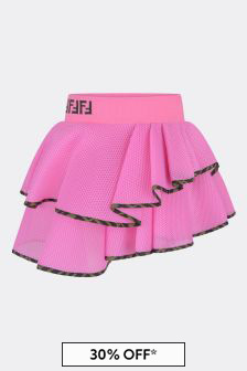 Pink Girls Pink Mesh Ruffle Skirt