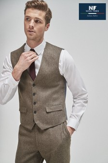 Brown Herringbone Suit: Waistcoat